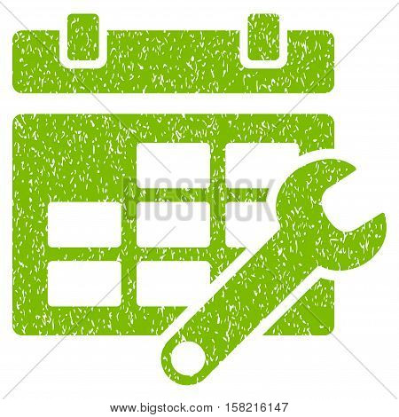 Timetable Options grainy textured icon for overlay watermark stamps. Flat symbol with unclean texture. Dotted vector eco green ink rubber seal stamp with grunge design on a white background.