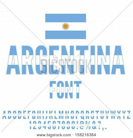 Argentina National Flag flat stylized Font. Alphabet and Numbers in Vector Set