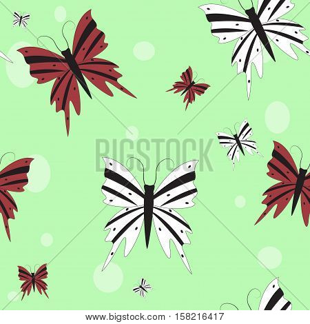 Seamless pattern. White and burgundy butterflies on a green background. Vector illustration