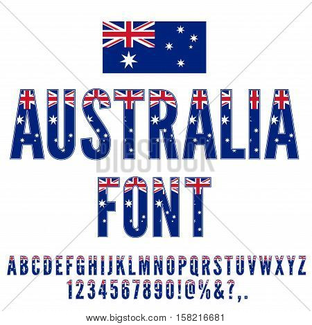 Australia National Flag stylized flat Font. Alphabet and Numbers in Vector Set