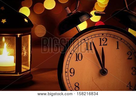 Vintage Alarm Clock Is Showing Midnight. It Is Twelve O'clock, Christmas And Bokeh, Holiday Happy Ne