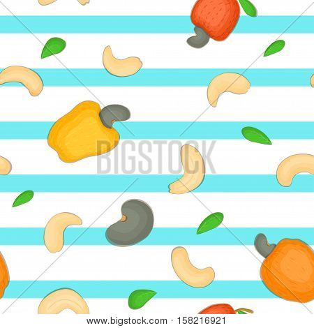 Seamless vector pattern of cashew nut. Blue Striped background with delicious cashew nuts, leaves. Illustration can be used for printing on fabric, textile in design packaging, packaging design