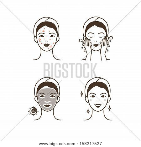Steps how to apply facial mask to treat acne. Vector isolated illustrations set.