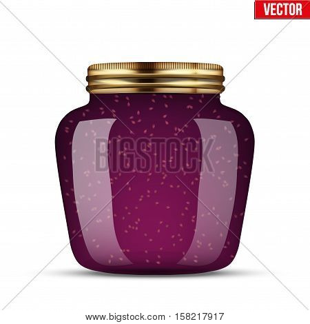 Canning Glass Jar with raspberries jam. Vector Illustration isolated on transparent background.