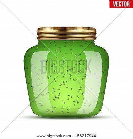 Canning Glass Jar with kiwi jam. Vector Illustration isolated on transparent background.
