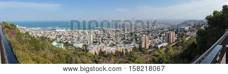 Haifa Israel - November 19 2016 : Panorama of downtown Haifa and Haifa harbor and bay. View from Mount Carmel