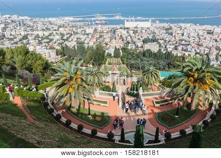 Haifa Israel - November 19 2016 : View of downtown Haifa Bahai Garden Haifa harbor and bay. View from Mount Carmel