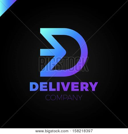 Letter D Logo. Arrow Letter D Icon Design Template Elements