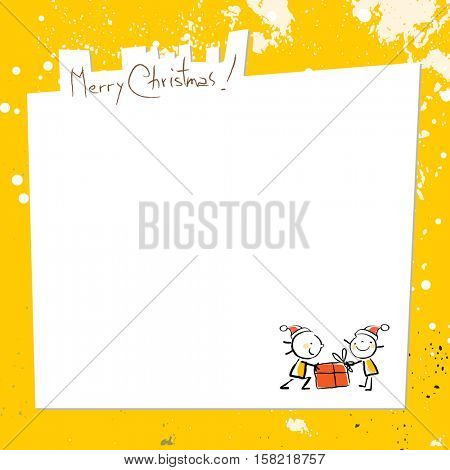 Merry Christmas greeting card, with kids, and space for text insertion. Sketchy doodle style hand drawn seasonal vector illustration.