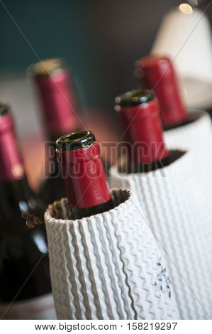 Bottles of red wine tasting in the blind Bordeaux France