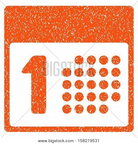 First Day grainy textured icon for overlay watermark stamps. Flat symbol with dirty texture. Dotted vector orange ink rubber seal stamp with grunge design on a white background.