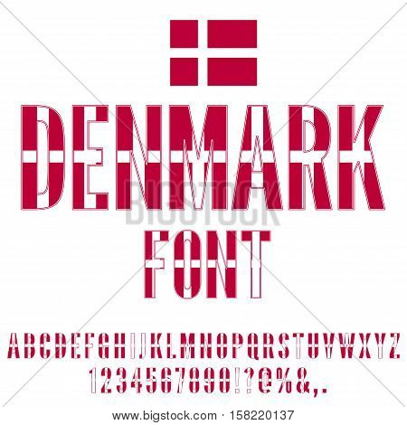 Denmark National Flag flat stylized Font. Alphabet and Numbers in Vector Set