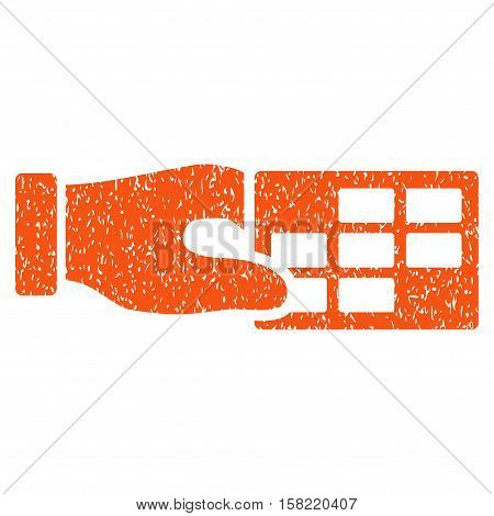 Timetable Properties grainy textured icon for overlay watermark stamps. Flat symbol with unclean texture. Dotted vector orange ink rubber seal stamp with grunge design on a white background.