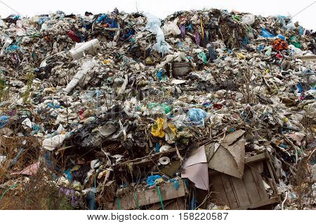 Landfill In Ukraine, Piles Of Plastic Dumped In . The Roads Along Inorganic Waste Jumble