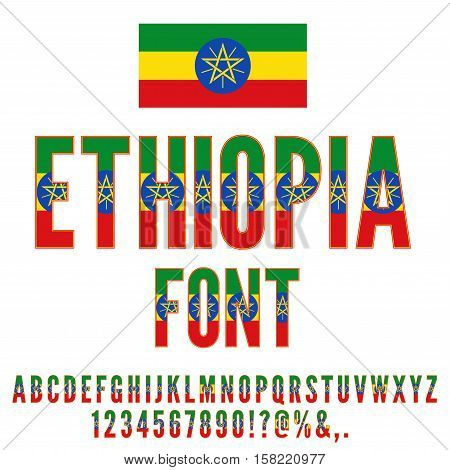 Ethiopia National flat Flag stylized Font. Alphabet and Numbers in Vector Set