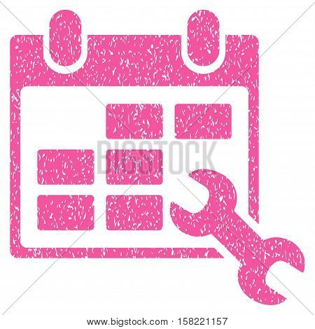 Configure Timetable grainy textured icon for overlay watermark stamps. Flat symbol with scratched texture. Dotted vector pink ink rubber seal stamp with grunge design on a white background.