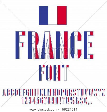 France National flag flat stylized Font. Alphabet and Numbers in Vector Set