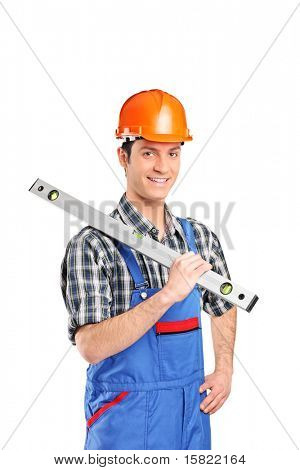 A portrait of an adult constructor worker holding construction bubble level isolated on white background
