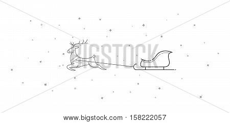 New Year. Christmas. Xmas. The deer and sleigh fly across the sky. Cartoon. Contour. Isolate. Stock vector.