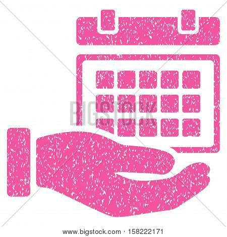 Service Timetable Hand grainy textured icon for overlay watermark stamps. Flat symbol with unclean texture. Dotted vector pink ink rubber seal stamp with grunge design on a white background.