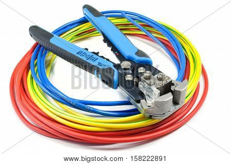 Cable stripper with power wires on white background