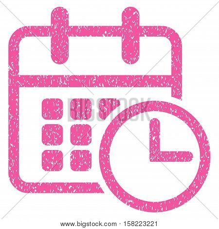 Timetable grainy textured icon for overlay watermark stamps. Flat symbol with dirty texture. Dotted vector pink ink rubber seal stamp with grunge design on a white background.