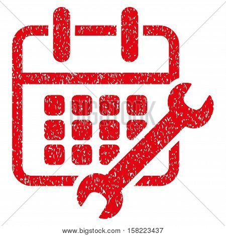 Calendar Configure grainy textured icon for overlay watermark stamps. Flat symbol with unclean texture. Dotted vector red ink rubber seal stamp with grunge design on a white background.