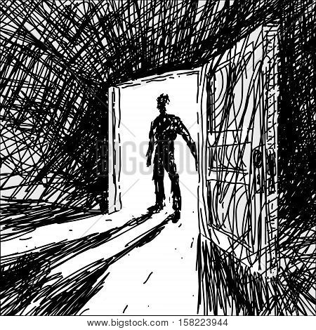 Man Enters Into Dark Room Vector Illustration