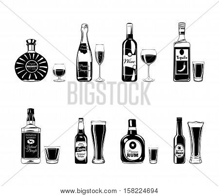 Bottle and Glasses Alcohol Elements. Tequila, Champagne, Whisky, Wine, Brandy, Beer Rum, Champagne, wine, rum, brandy whiskey beer tequila Vector Illustration Isolated On White Background
