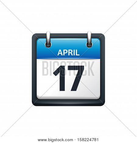 April 17. Calendar icon.Vector illustration, flat style.Month and date..Sunday, Monday, Tuesday, Wednesday, Thursday, Friday, Saturday.Week, weekend, red letter day. 2017, 2018 year.Holidays.