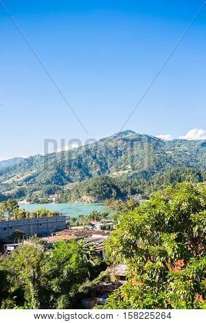 Beautiful view on Phewa lake, Pokhara, Nepal