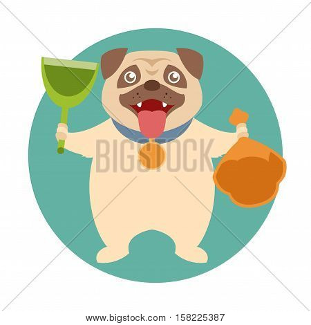 Flat Vector image of the dog cleaning its poop with scop