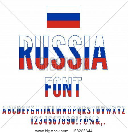 Russia National flag flat stylized Font. Alphabet and Numbers in Vector Set