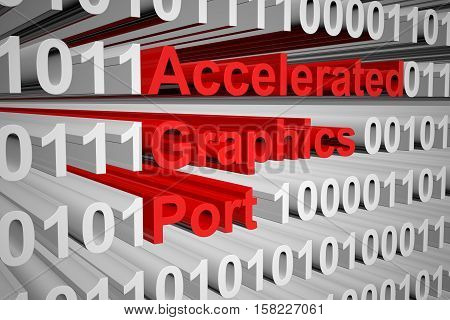 Accelerated Graphics Port in the form of binary code, 3D illustration