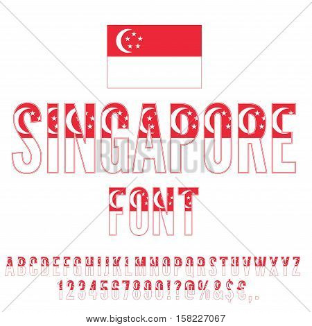 Singapore National flag flat stylized Font. Alphabet and Numbers in Vector Set