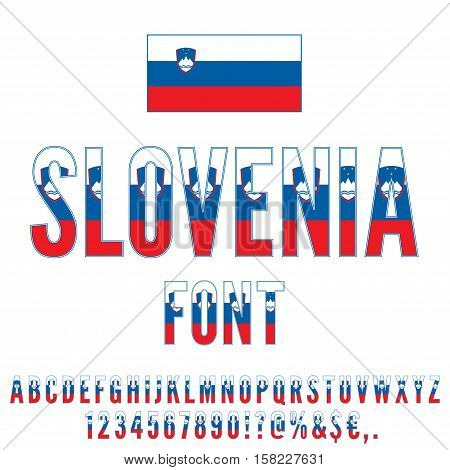 Slovenia National flag flat stylized Font. Alphabet and Numbers in Vector Set