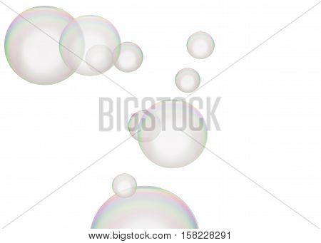 Rainbow colored soap bubbles soars over a white background