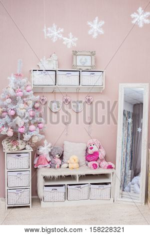 Christmas tree in Shabby chic style living room. New Year holiday interior. Vertical