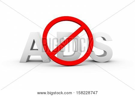 ad blockers ban white background 3d illustration