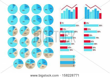 Vector Infographics 5 to 95 percent charts, arrows, growth and fall graphics isolated