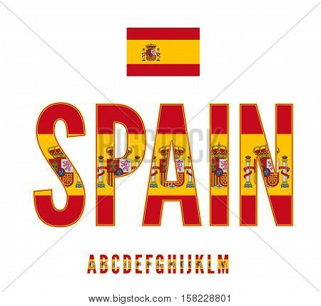 Spain National Flag with coat of arms stylized Font. Alphabet first part in Vector Set