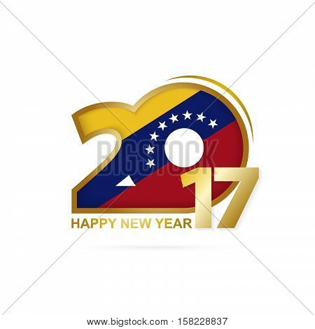 Year 2017 With Venezuela Flag Pattern. Happy New Year Design On White Background.
