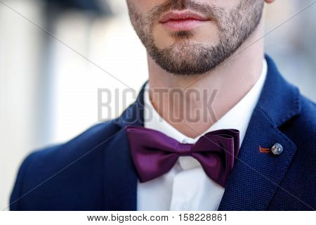 Bearded Man In Blue Jacket And A Bow Tie