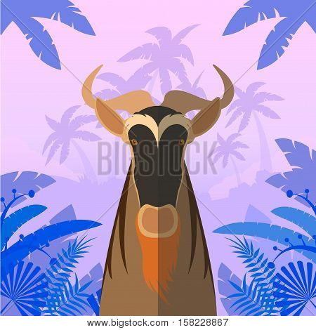 Flat Vector image of the Horned Horse Gnu on the Jungle Background