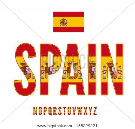 Spain National Flag with coat of arms stylized Font. Alphabet second part in Vector Set