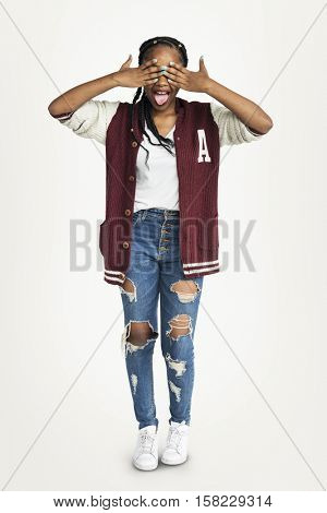 Young Woman Funny Naughty Cheerful Concept