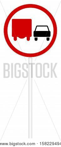 Prohibitory traffic sign isolated on white 3D illustration - Overtaking trucks