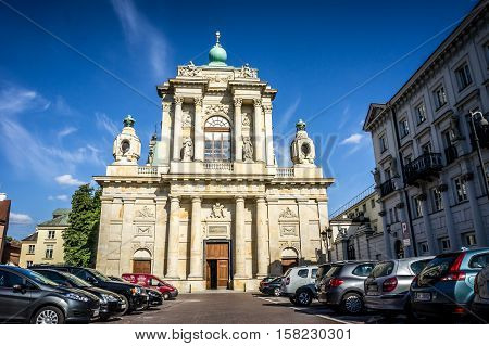 WARSAW POLAND - SEPTEMBER 27: Church of the Assumption of the Virgin Mary and of St. Joseph or Carmelite Church Krakowskie Przedmiescie in Warsaw Poland on September 27 2016