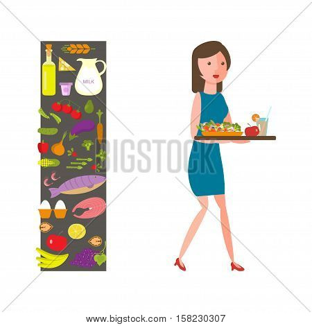 Food and woman icon for lifestyle infographic. Slender girl with healthy food. Vector illustration
