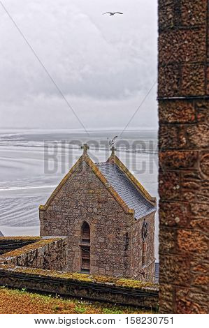 Inside Abbey Mont Saint Michel of Normandy region at Manche department in France.